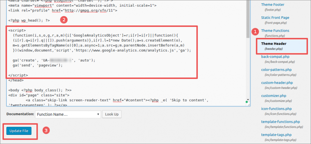 wordpress dashboard editor google analytics install