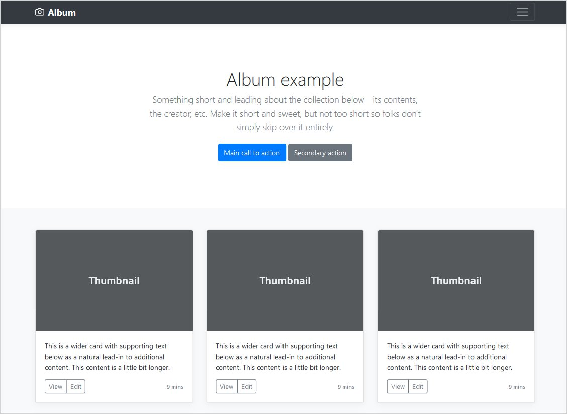 Album page example bootstrap 4 stable release update