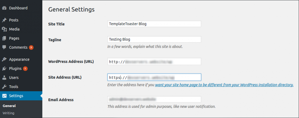 Change URLs in WordPress Settings HTTP to HTTPS redirect