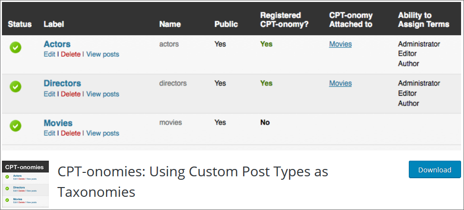 CPT onomies WordPress Custom Post Type Plugins list