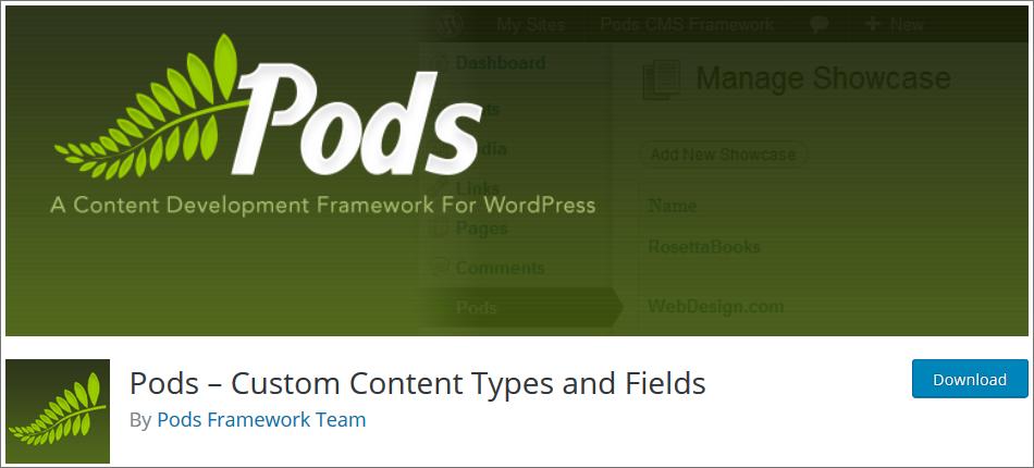 Pods WordPress Custom Post Type Plugins list