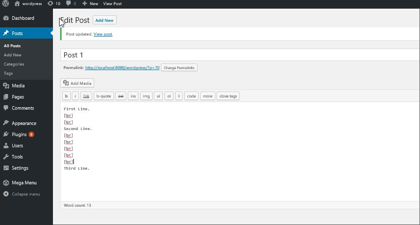 WordPress line breaks shortcode