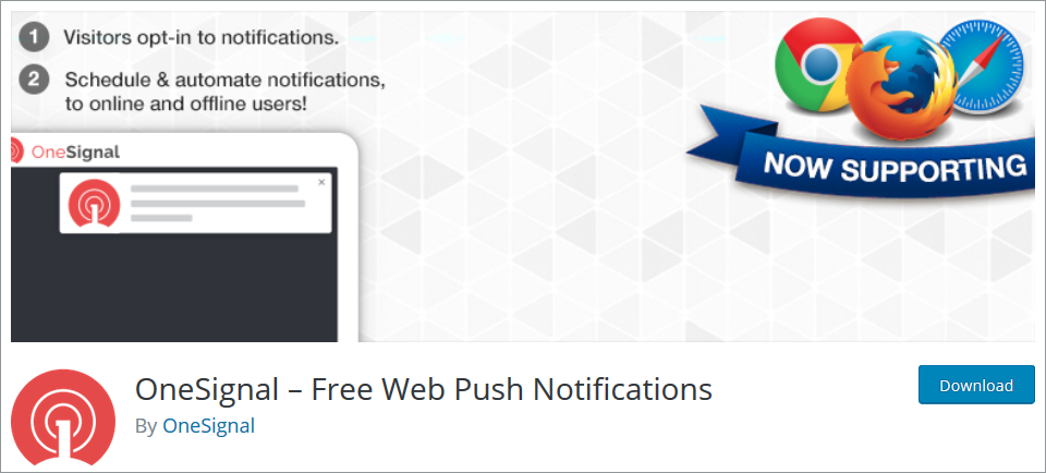 WordPress Push Notifications plugin OneSignal – Free Web Push Notifications