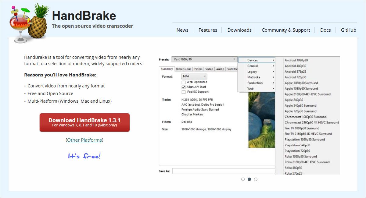 handbrake video compression software