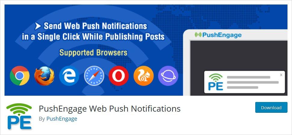 WordPress push notifications plugin - pushengage