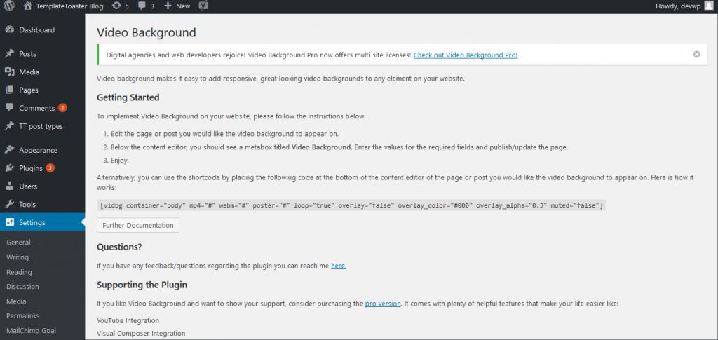 video-dashboard screenshot WordPress Video Background Plugin