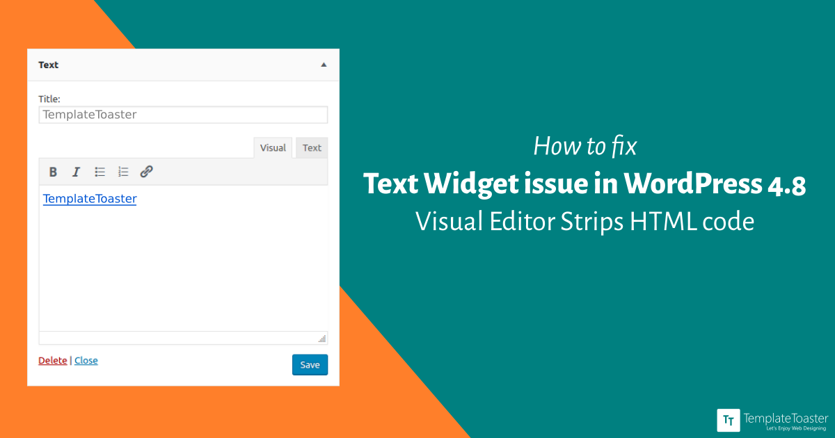 How to fix text widget issue in wordpress 4 8 visual for Template for blogger html code