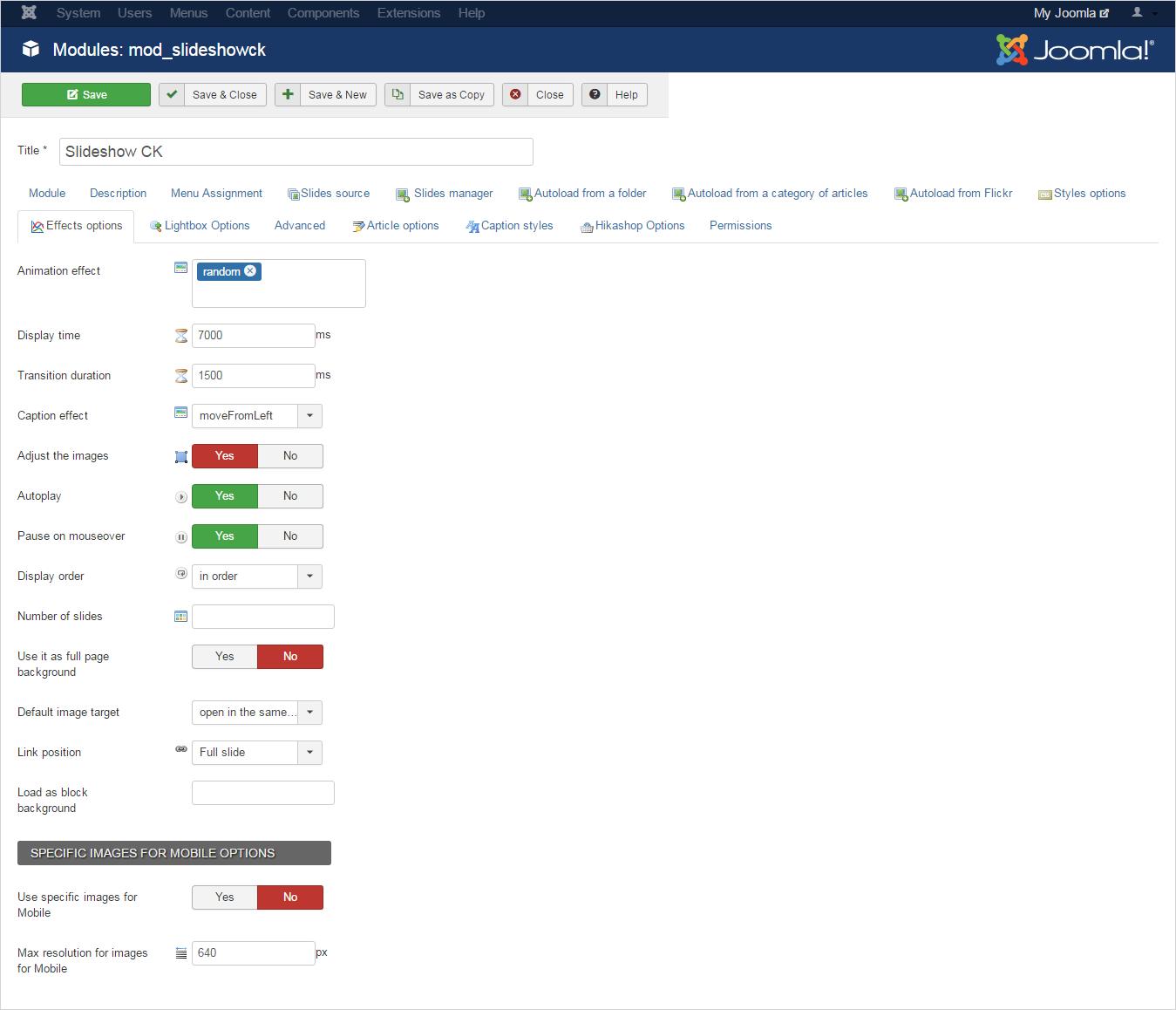 Joomla Slideshow Module list