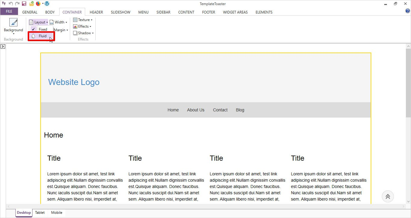 content layout settings in TemplateToaster ebook landing page