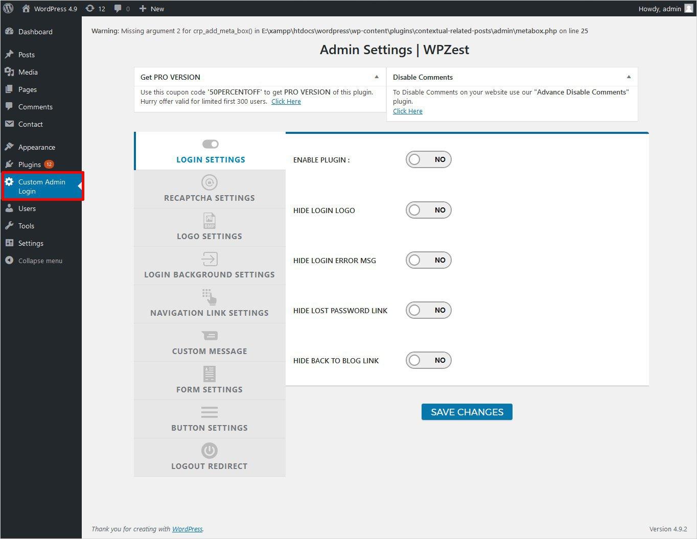 Custom Admin Login Page WPZest plugin settings wordpress custom login page