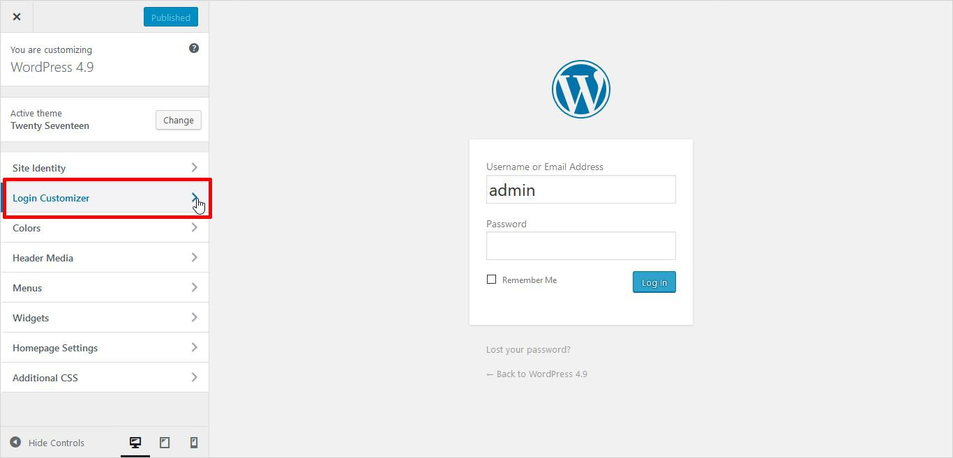 Customizer screen of Login Customizer Plugin wordpress custom login page