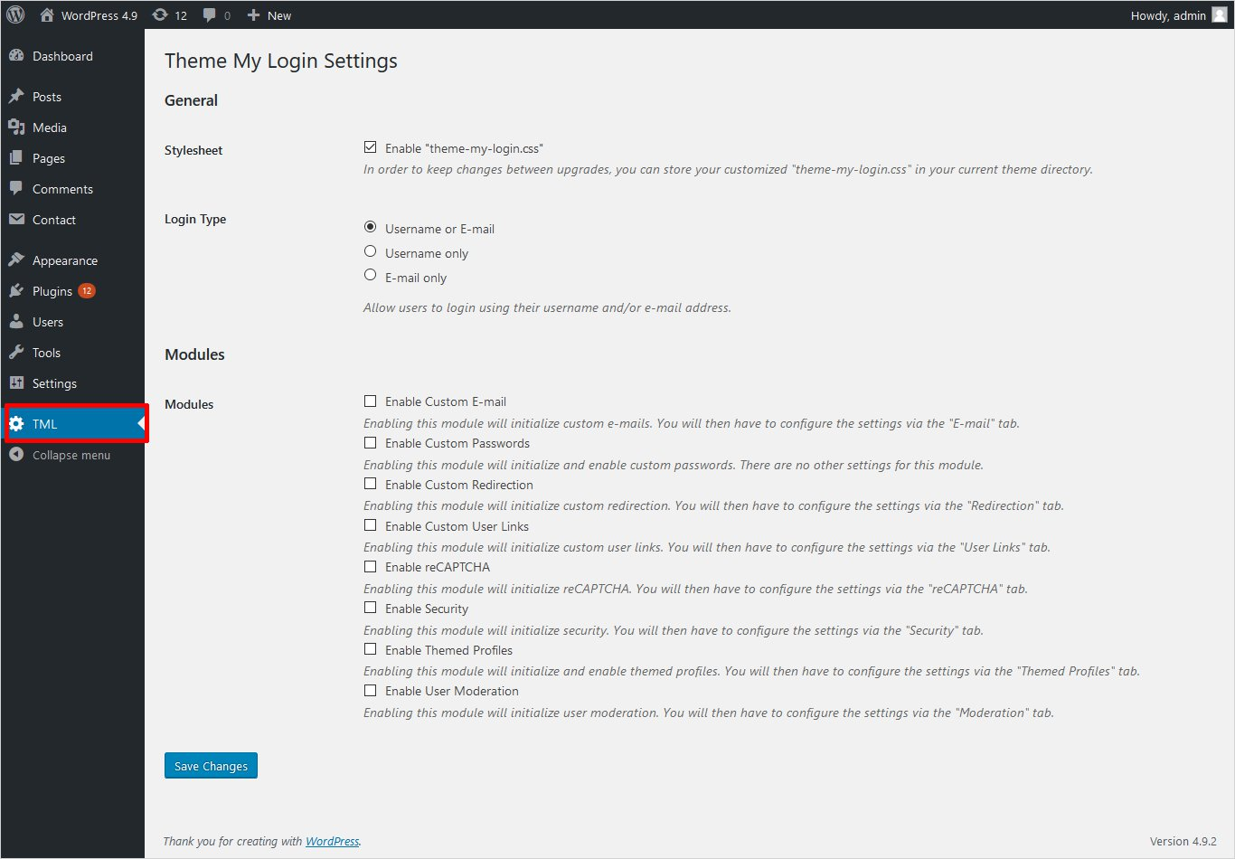 Theme My Login plugin settings wordpress custom login page