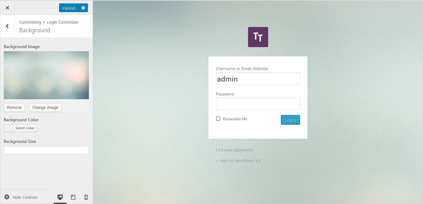 applying selected image wordpress custom login page