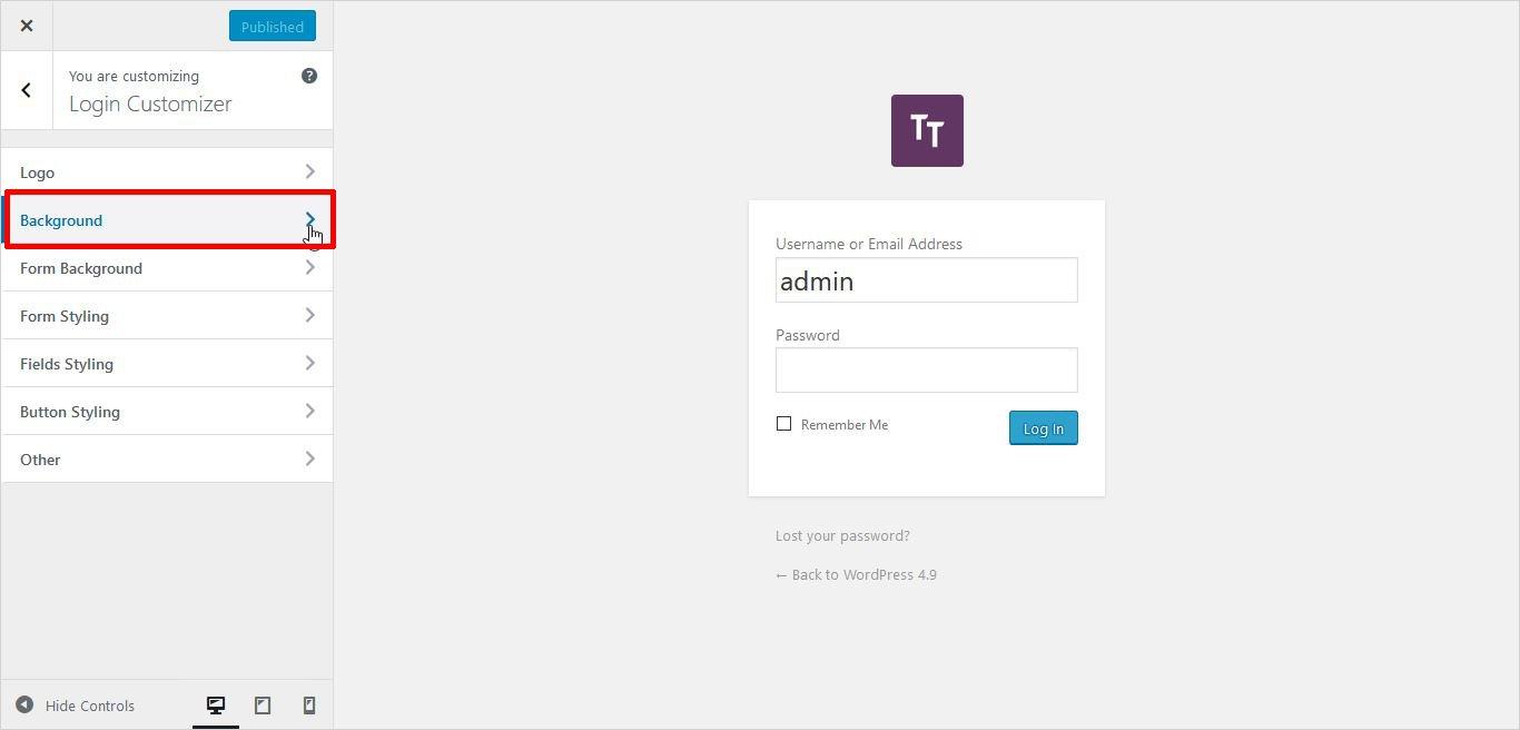 background image settings of logo wordpress custom login page
