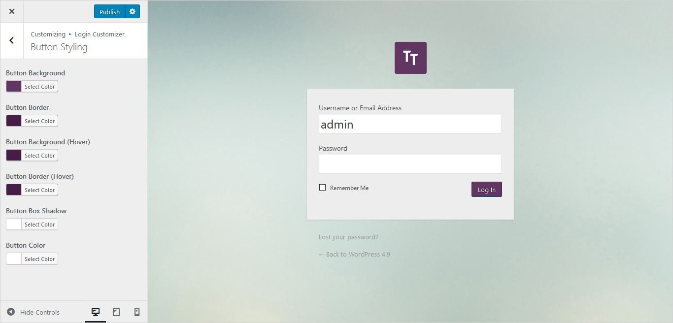 button styling settings of form wordpress custom login page