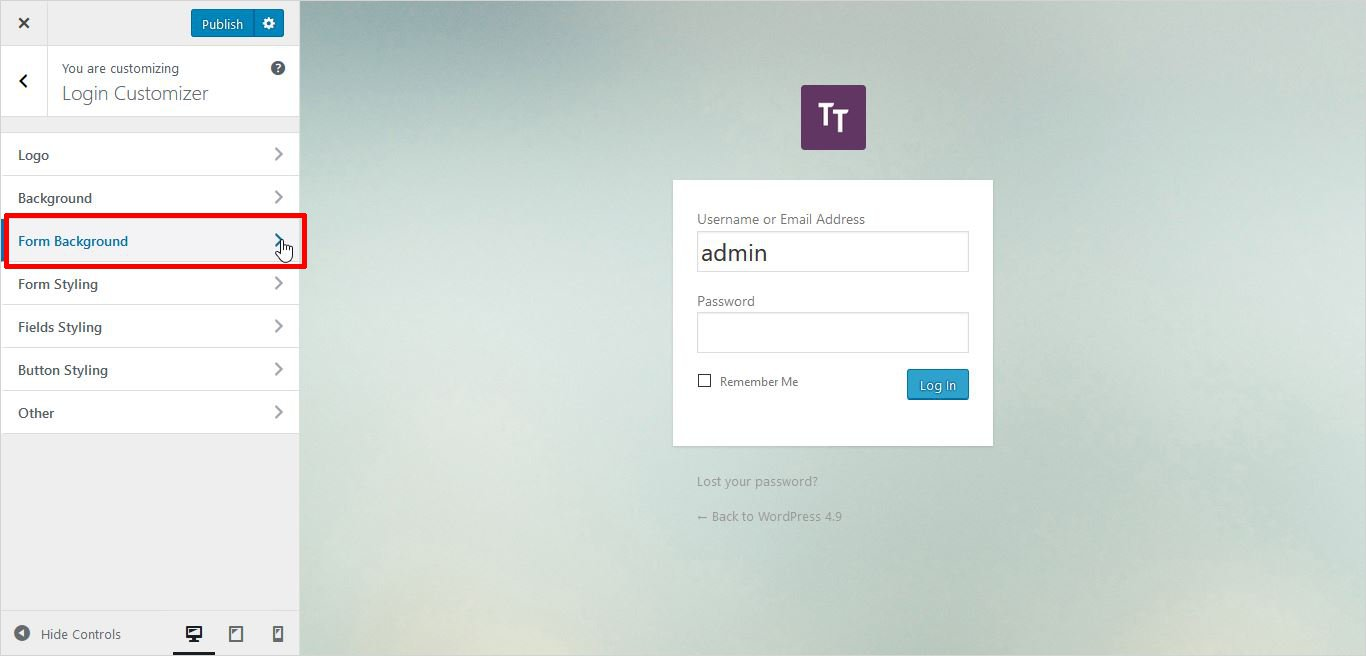 color settings of form areawordpress custom login page