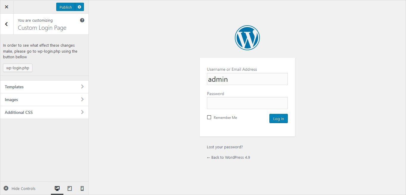 custom login page settings wordpress custom login page