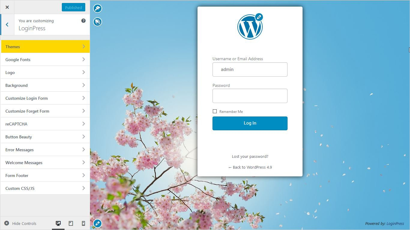 customizer settings of loginpress wordpress custom login page