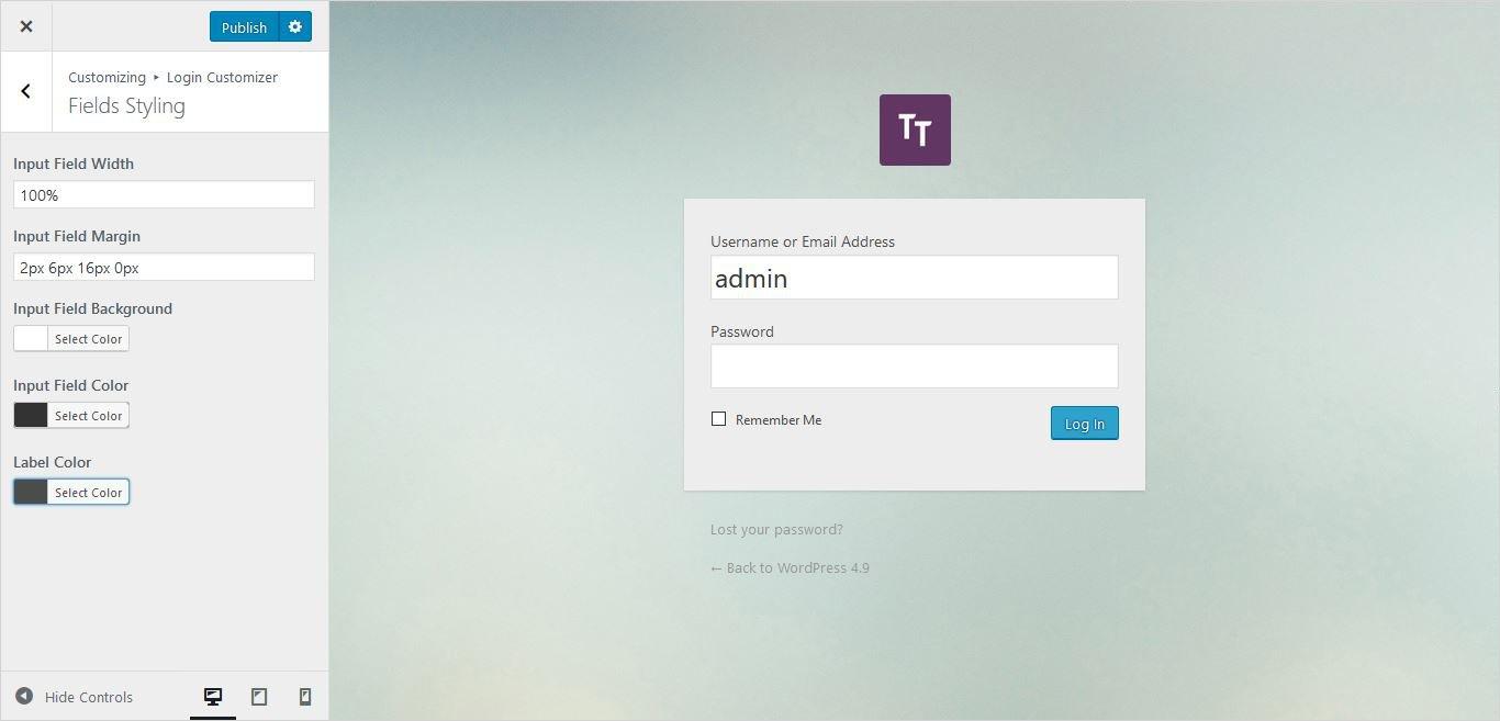 field styling settings of form wordpress custom login page