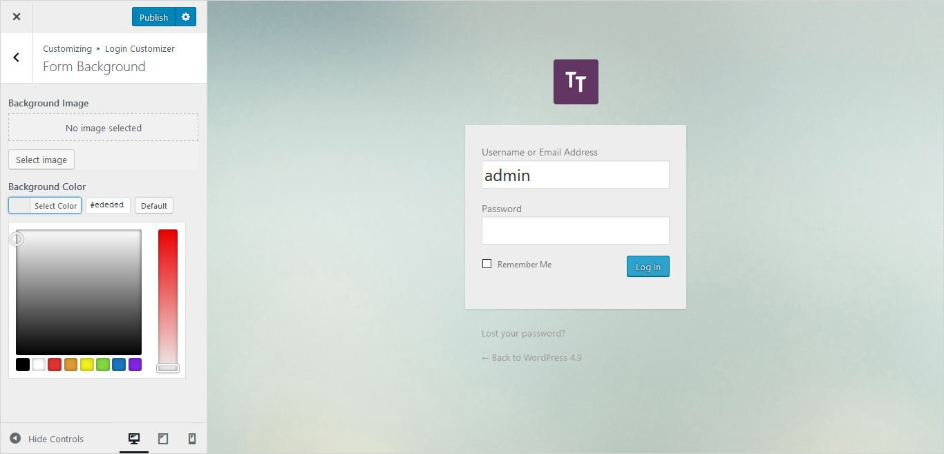form background color settings wordpress custom login page