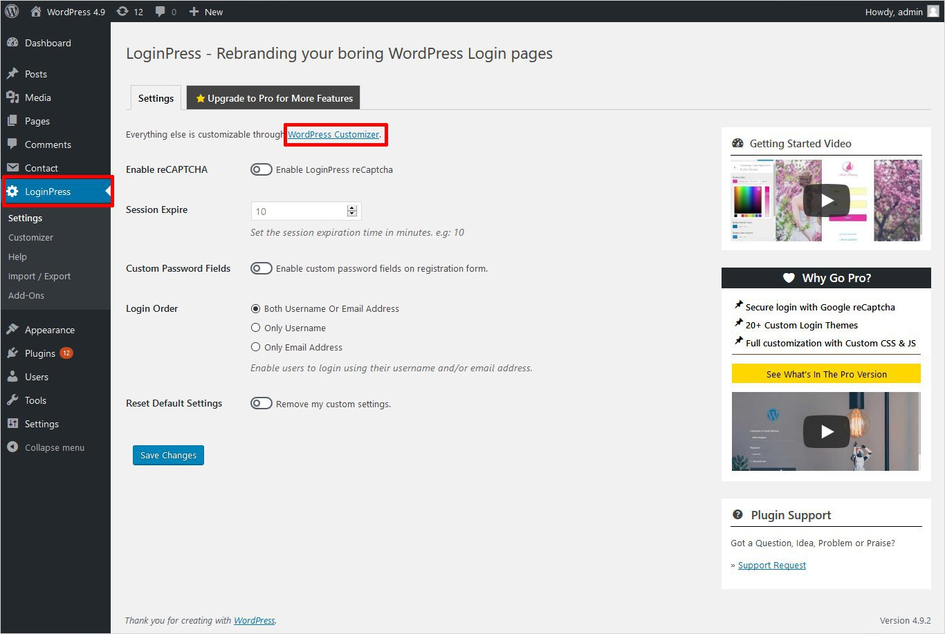 loginpress plugin settings wordpress custom login page