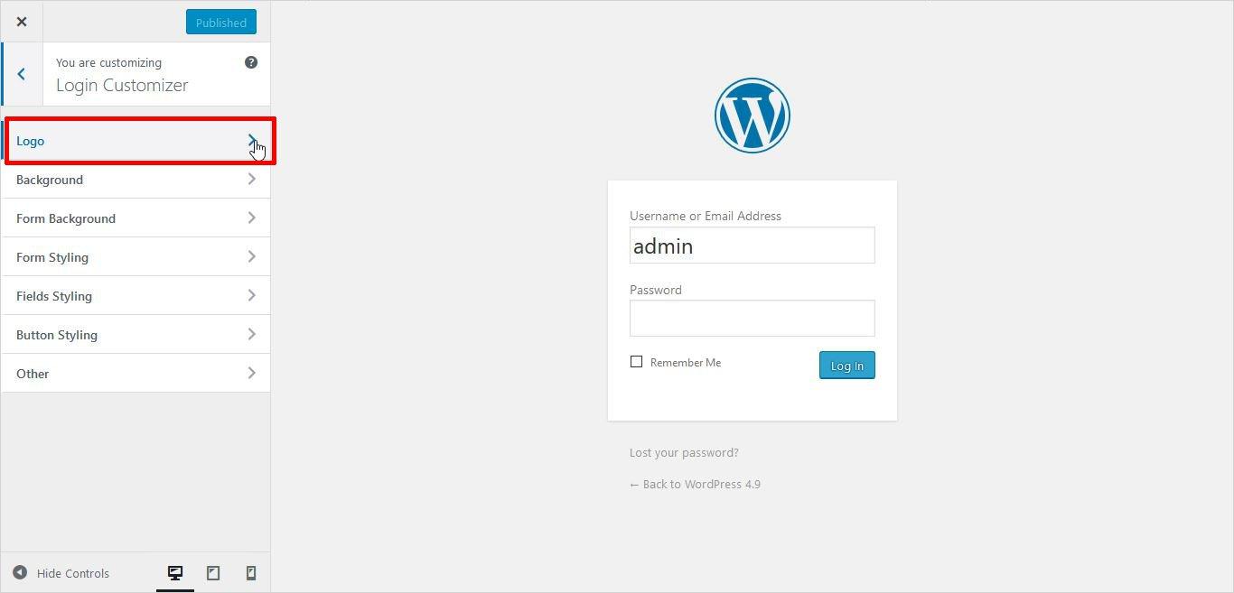 logo settings in wordpress custom login page