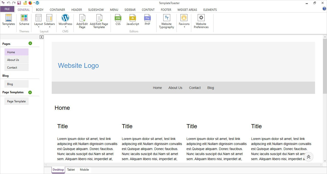 main interface of TemplateToaster software wordpress page template