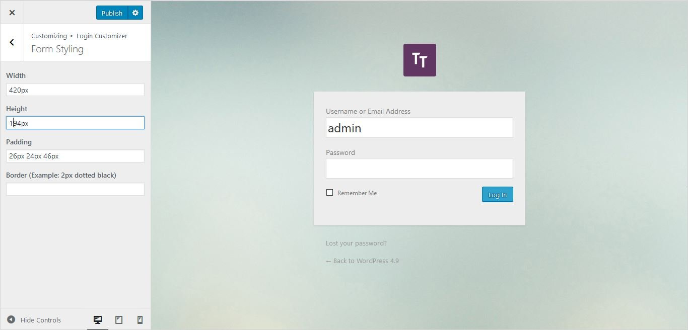 more form settings wordpress custom login page
