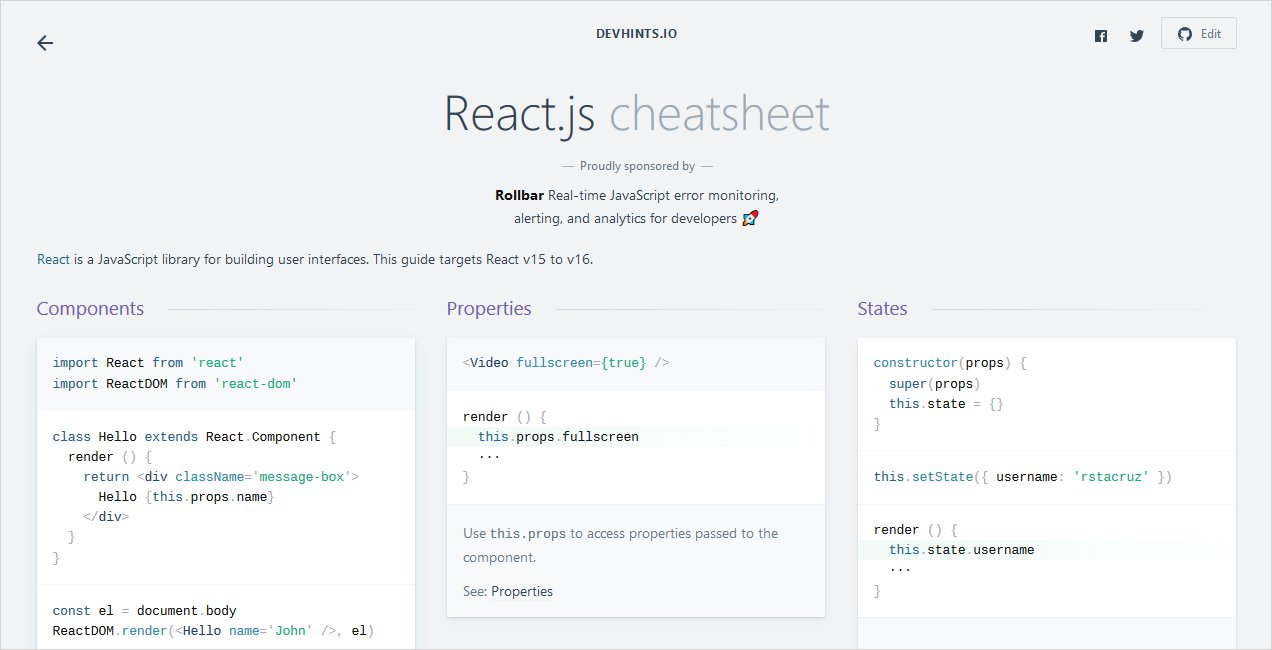React JavaScript Cheat Sheet