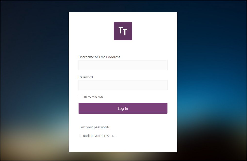 resultant WordPress custom login page