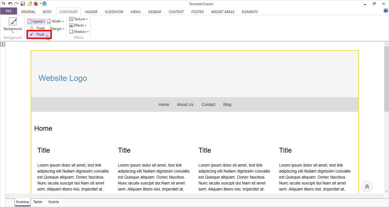 select layout of template wordpress page template