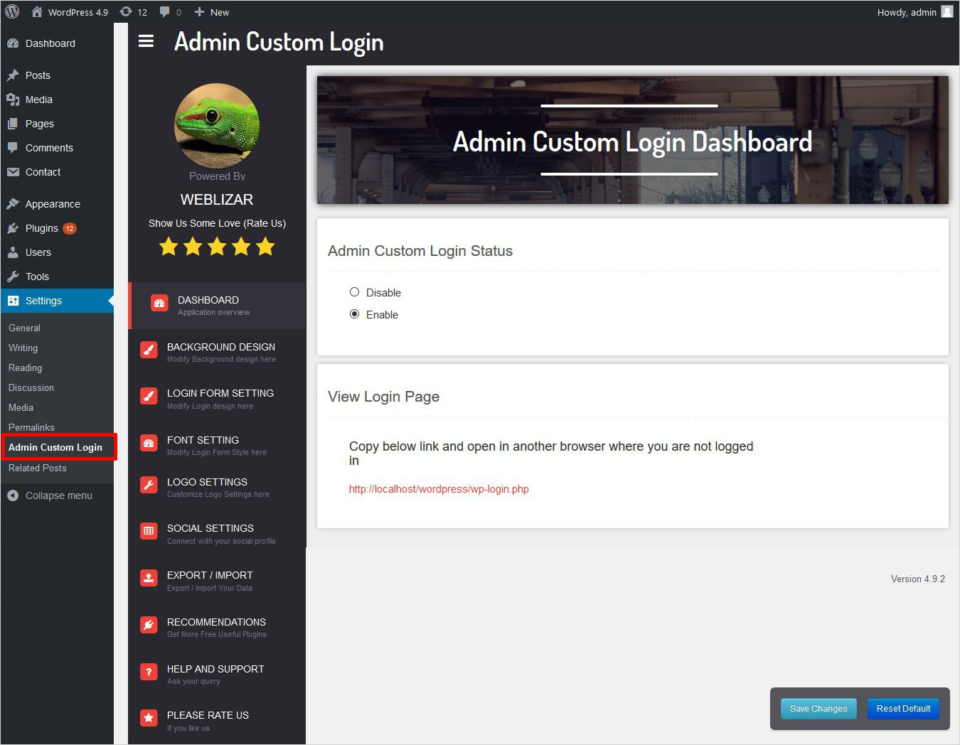 settings panel of admin custom login plugin wordpress custom login page