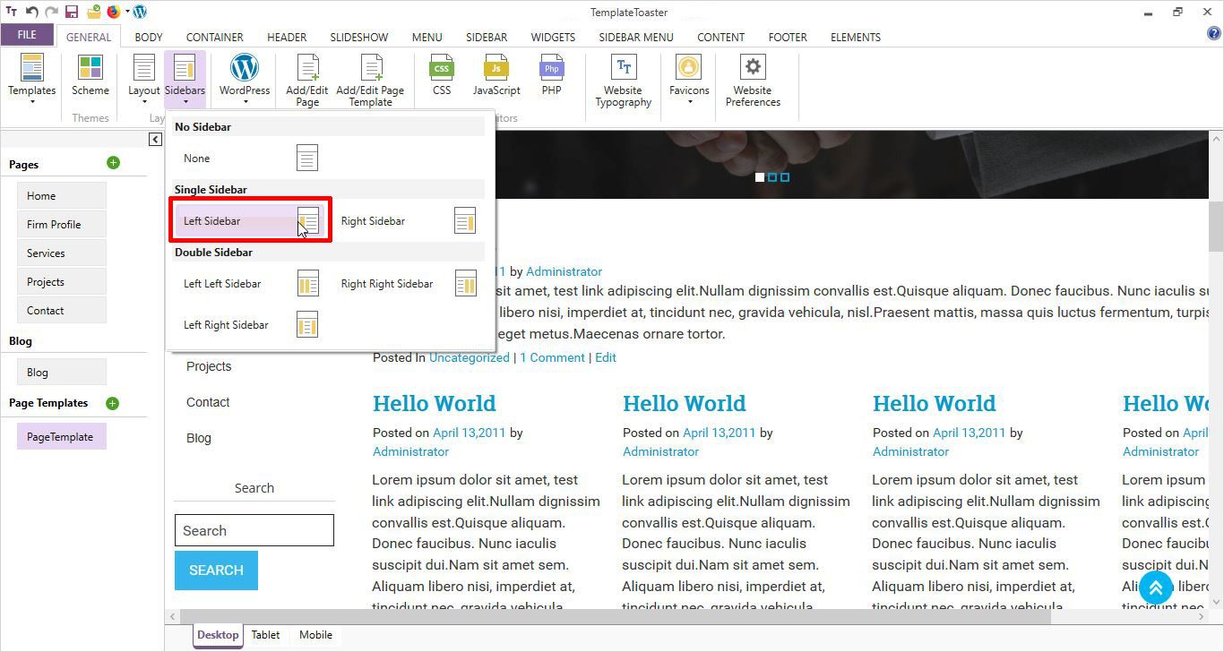 sidebar settings in page template wordpress page template