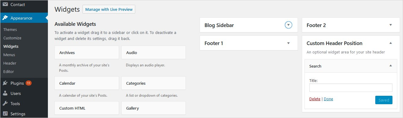 widget header settings custom header wordpress