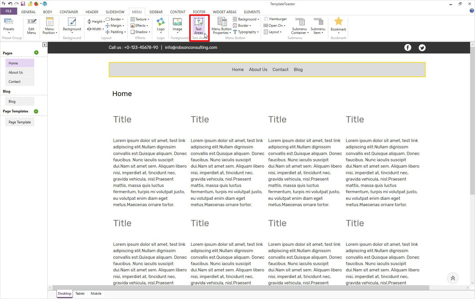 wordpress add page template