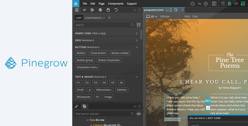 pinegrow web design software list 2018 blog