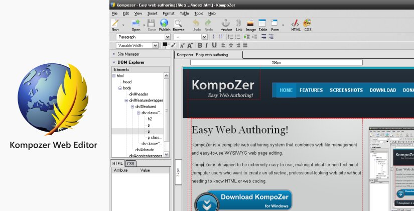 kompozer web design software