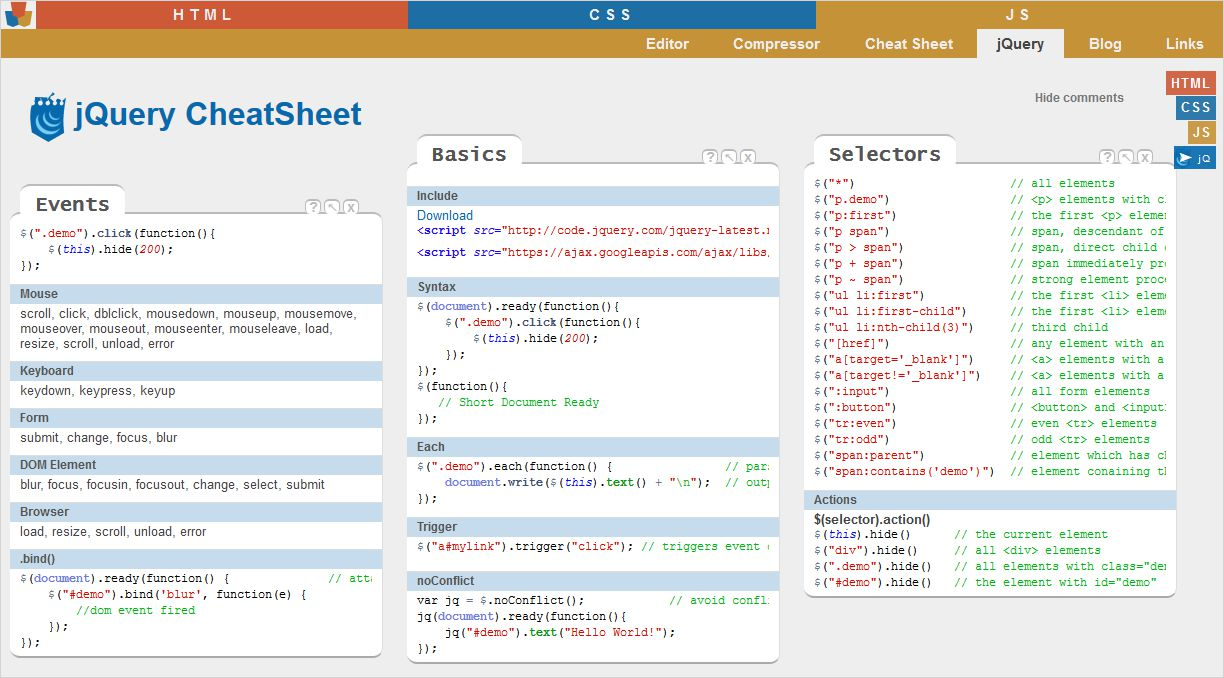 Online jQuery Cheat Sheets