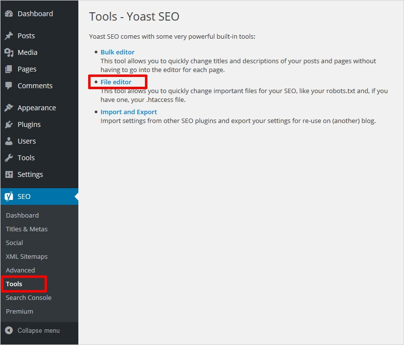create htaccess file using yoast 2 - create file