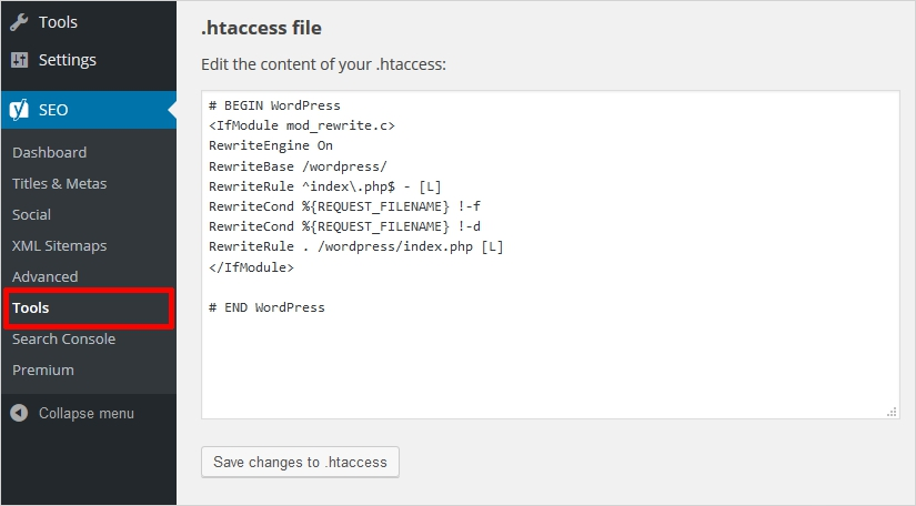 create htaccess file using yoast 3 - save code