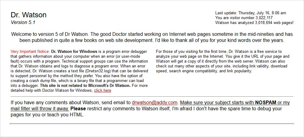 dr watson html validator list