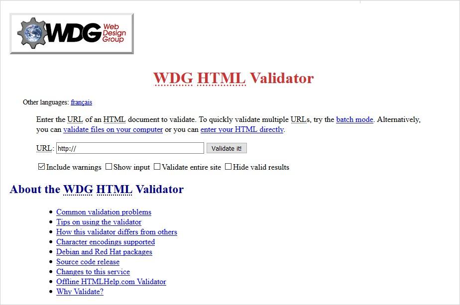 wdg html validator list