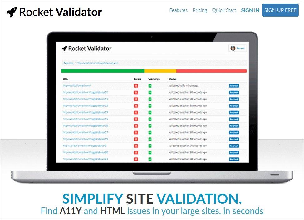 rocket validator html validator list