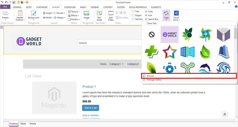 browse header logo templatetoaster