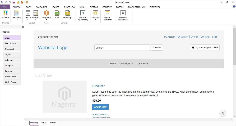 main interface templatetoaster