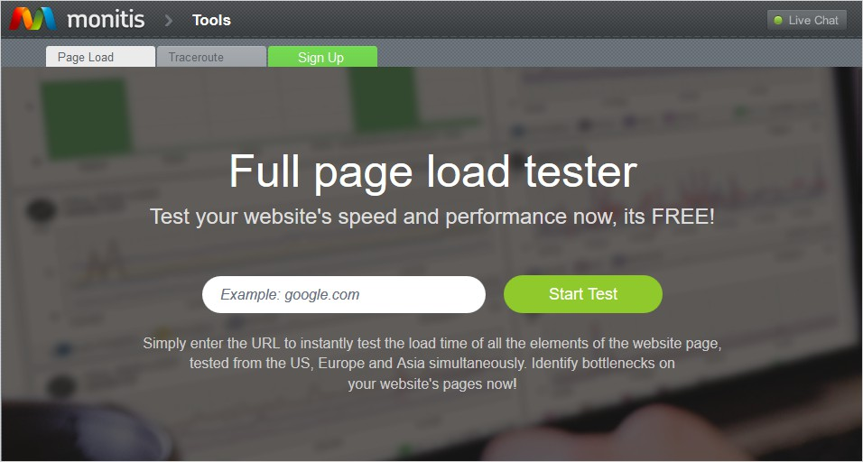 monitis 35 free speed test tool