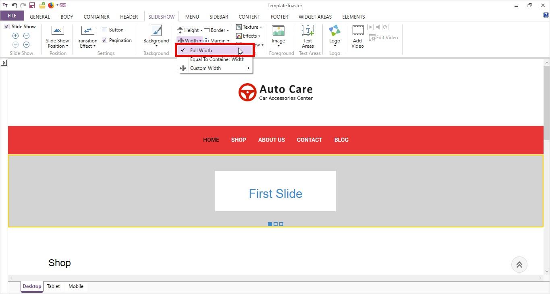set slideshow width templatetoaster