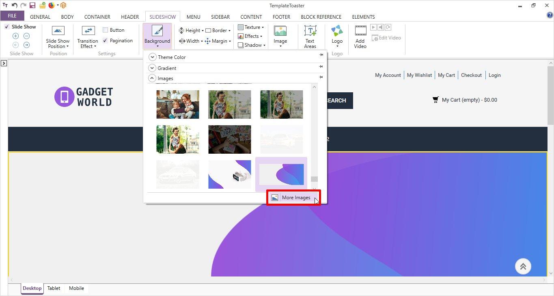 slideshow background image templatetoaster