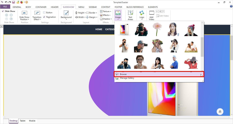 slideshow foreground image templatetoaster
