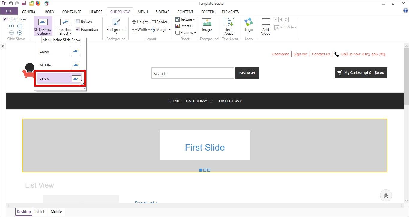 slideshow position templatetoaster